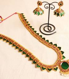Buy BEAUTIFUL GREEN TEMPLE JEWEL LONG NECKLACE WITH MATCHING EARRINGS necklace-set online