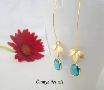 Golden leaf earrings with long earwire