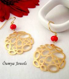 2b7a1eda999 Golden red multicircle earrings