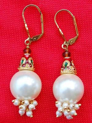 Lovely White Moti Traditional Earrings