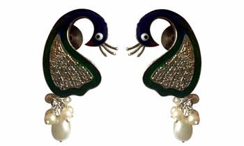 Beautiful peacock design earrings with amazing enamel work