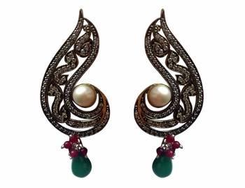 Paisley shaped multi coloured fashion earring
